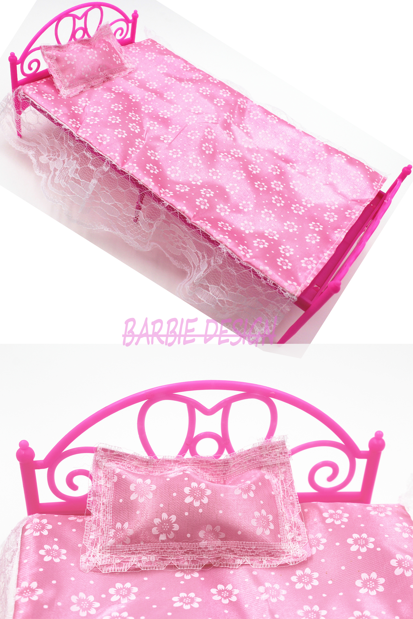 Free Shipping ONE Set Doll Accessories Pink Mini Doll Bed Furniture For Barbie Doll House Baby Toys Hot Selling karmart cathy doll 2 in 1 vitamin c tint tinted gluta gloss pink lip korea free shipping