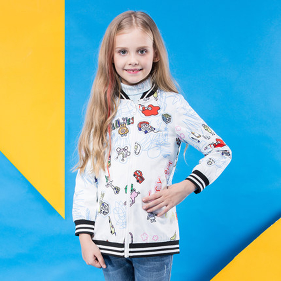 ФОТО Spring Autumn Fashion Girls Baseball Uniform Kids Jacket Soft Long Outerwear Cartoon Kids Girls Cardigan Coat Casual 70F1598