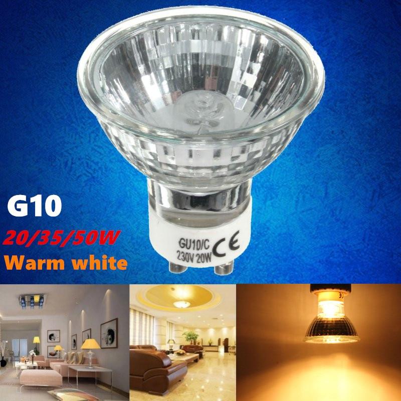 GU10 20/35/50W Halogen Lamp Bulb High Bright 2800K High Efficiency Clear Glass Lights Warm White Home Light Bulbs AC220-240V