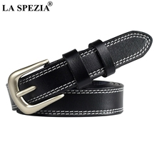 LA SPEZIA Ladies Accessories Belts Black Casual Belt Woman Real Cow Leather Square Buckle Pin Double Loop Designer Coffee