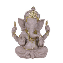 MRZOOT Chinese Indian Buddha Statue Maitreya Elephant Idol Home Decoration Sandstone Sculpture Resin Craft
