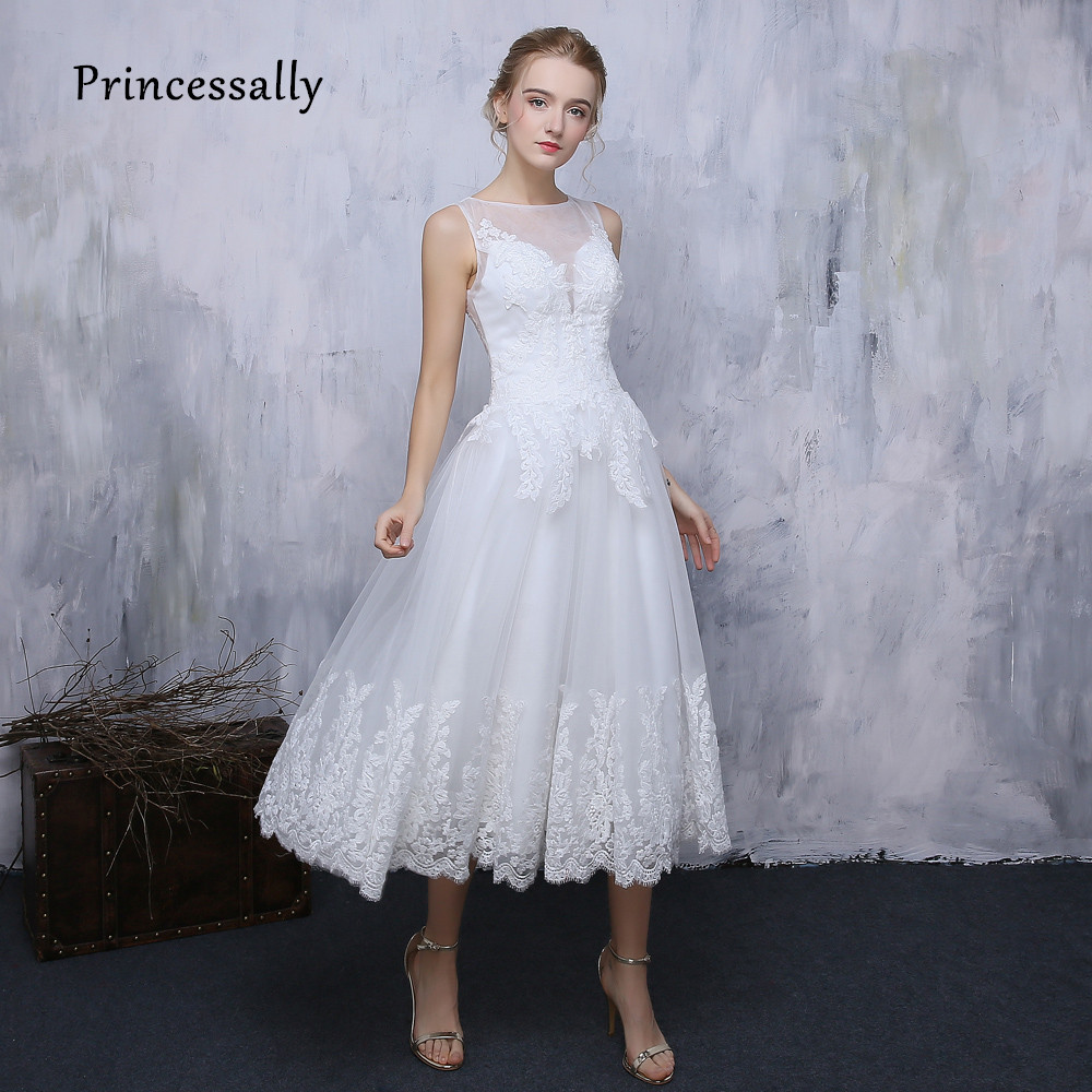 New simple lace wedding dress white tea length illusion for Elegant wedding party dresses