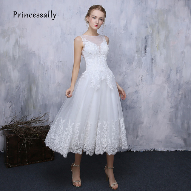 New Simple Lace Wedding Dress White Tea Length Illusion Back Elegant ...