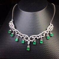 Uloveido тонкой изумрудное ожерелье с подвеской для женщин 925 пробы Серебряный зеленый драгоценный камень юбилей Свадебные цепочки и ожерелья