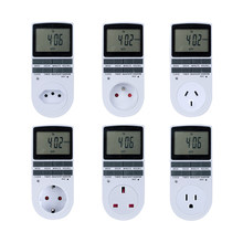 Electronic Digital Timer Switch 24 Hour Cyclic EU UK AU US BR FR Plug Kitchen Timer Outlet Programmable Timing Socket 220V(China)