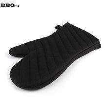 Gants de cuisine en sergé noir, épais, en coton et Polyester, résistants à la chaleur, pour BBQ, 1 pièce