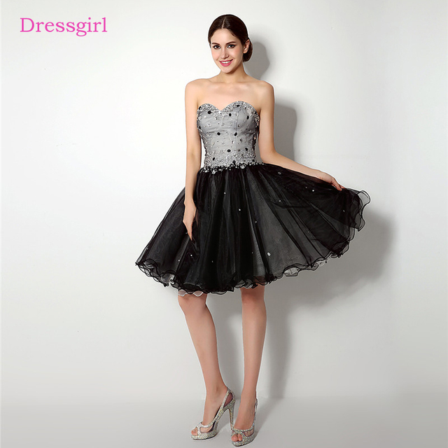Black 2019 Homecoming Dresses A-line Sweetheart Short Mini Organza Beaded Crystals Elegant Cocktail Dresses