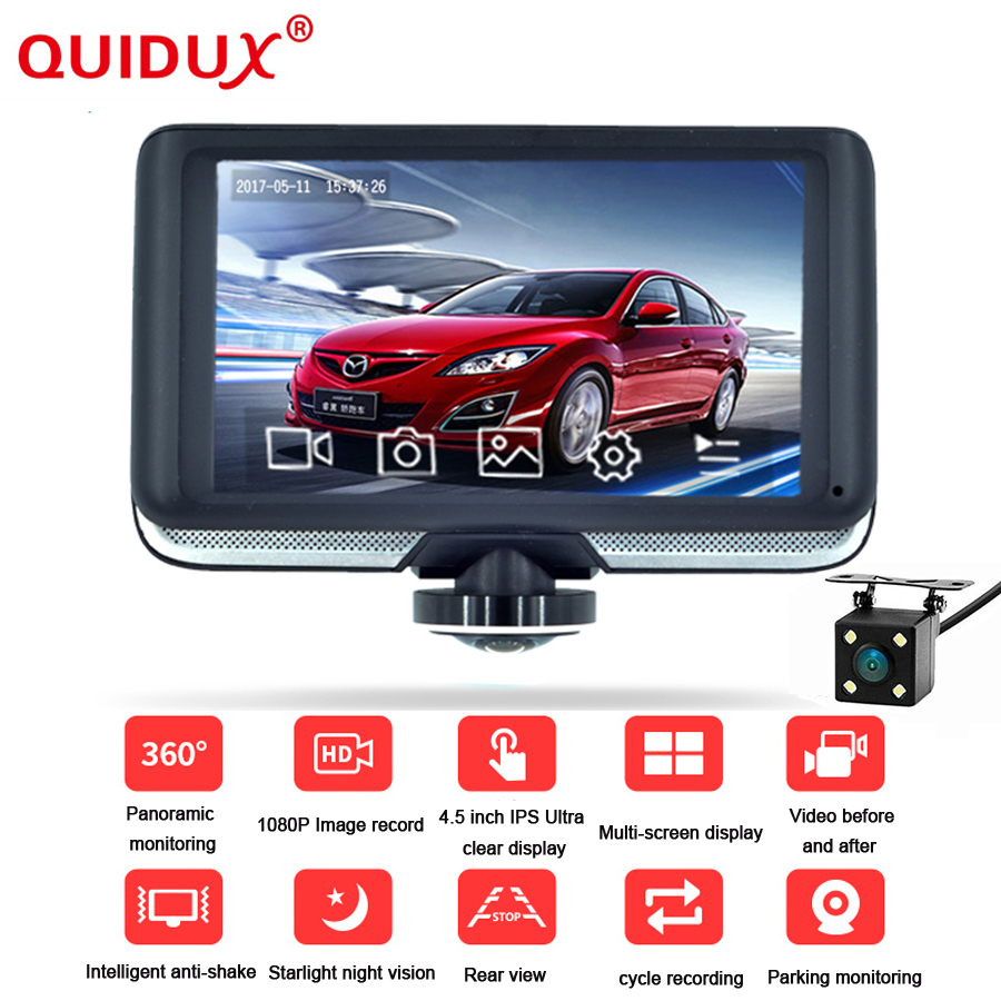 QUIDUX New 4.5 Inch IPS Touchscreen Car DVR Full HD 1440p 360 degree Panorama Recorder C ...