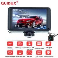 Quidux Новый 4.5 дюймов IPS сенсорный Видеорегистраторы для автомобилей Full HD 1440 P 360 градусов Панорама Регистраторы Камера приборной панели видео