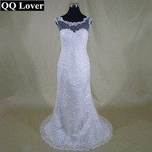 QQ Lover Vestido De Noiva Mermaid Wedding Dress 2017 Cap sleeve Button Court Train Lace and Applique Bridal Dresses Gowns