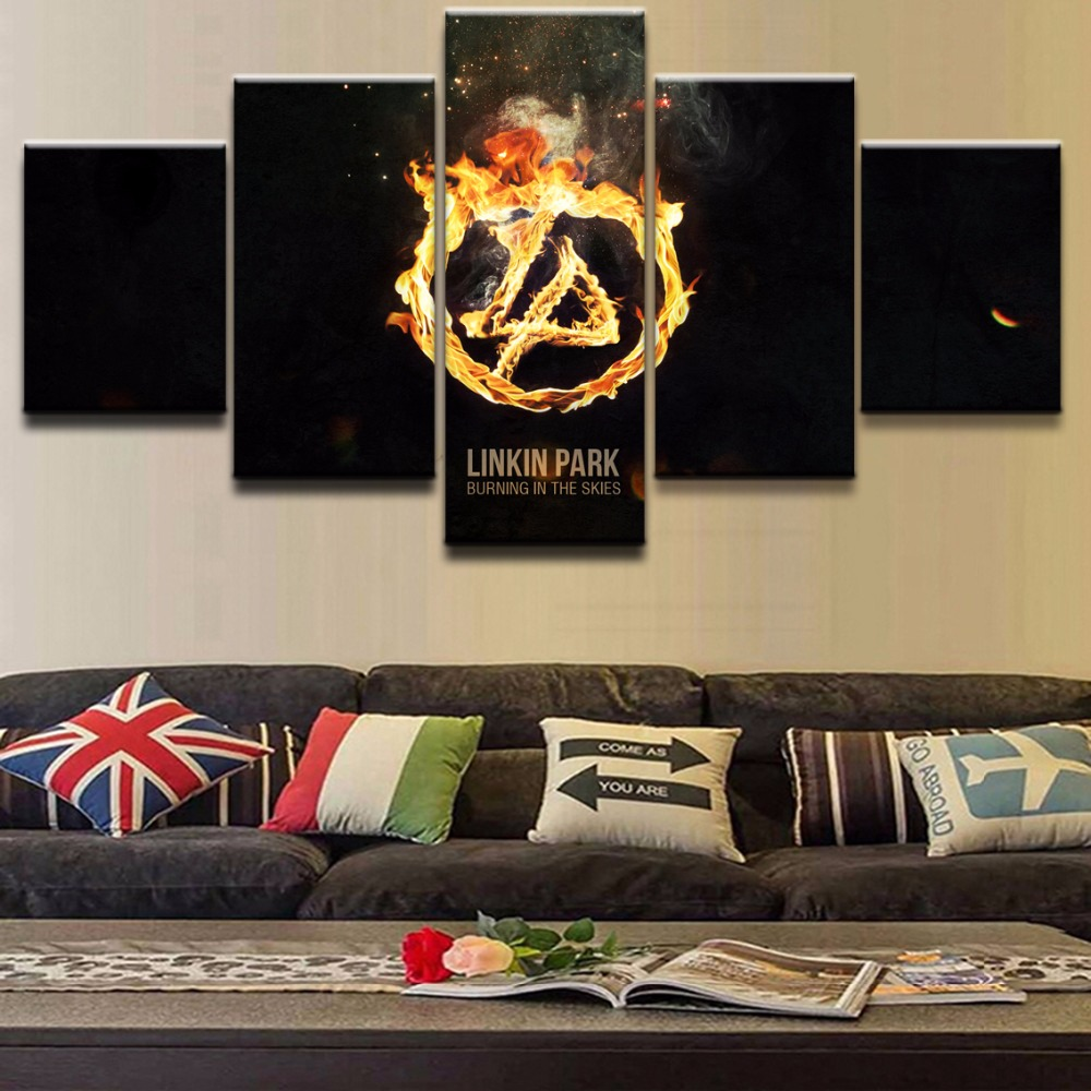 compare prices on linkin park posters online shopping buy low home decor hd printed canvas wall art pictures frame 5 pieces music linkin park poster painting