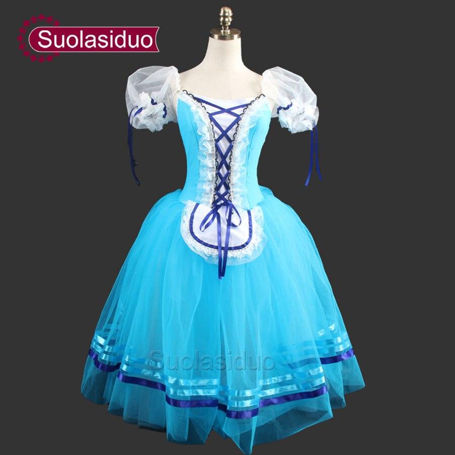 Skyblue Giselle Ballet Tutu Dress Peasant Costumes For Girls Women Romantic
