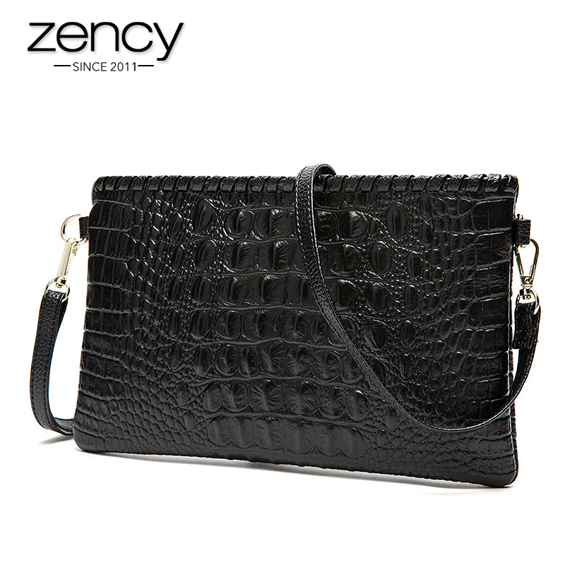 ФОТО Fashion Crocodile Grain Women's Clutch Bag Genuine Leather Envelope Shoulder Evening Bag female Clutches Handbag free shipping
