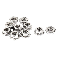 8mm Height M8 Thread Stainless Steel Serrated Hex Flange Nuts 10 Pcs