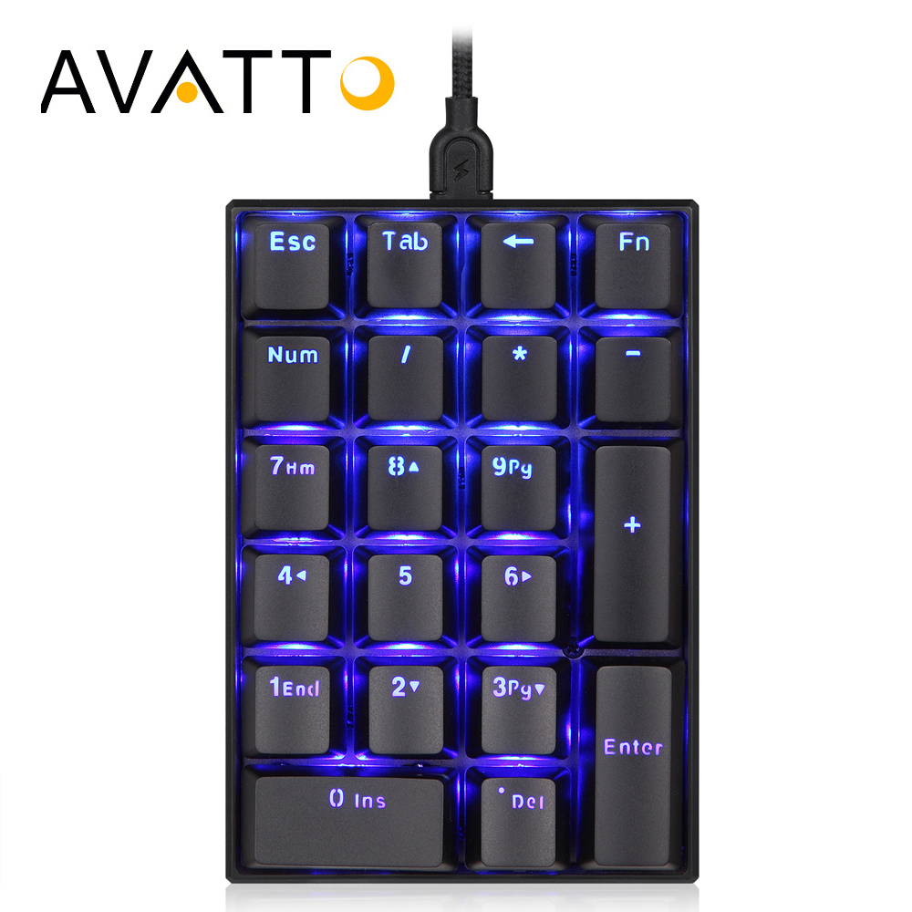 AVATTO Mechanical Blackit USB Wired Numeric Keypad with 21 Keys Extended Layout Mini Numpad Keyboard for Professional Accounting motospeed k22 mechanical numeric keypad wired 22 keys mini numpad backlight keyboard extended layout for cashier red switch