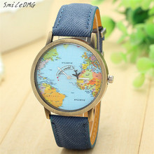 Women Watch New Global Travel By Plane Map Women Dress Watch Denim Fabric Band Perfect Men