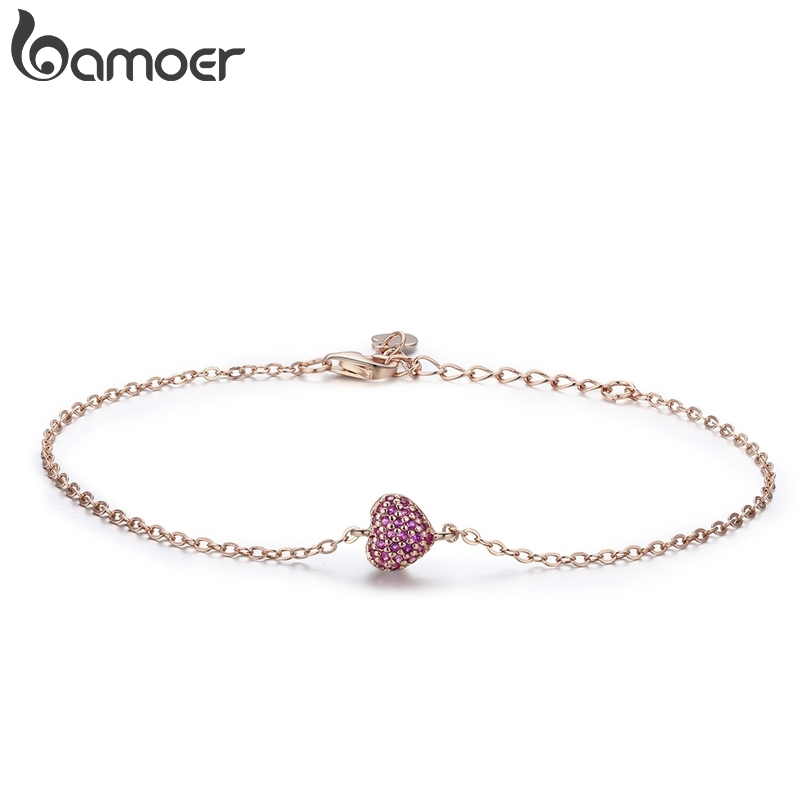 BAMOER 925 Sterling Silver Rose Gold Romantic Heart Chain Link Bracelet Women Adjustable Lobster Clasp Bracelet Jewelry SCB050 zeg high quality pan 1 1 original copy of the logo heart bracelet chain chain link chain plated rose gold free package mail