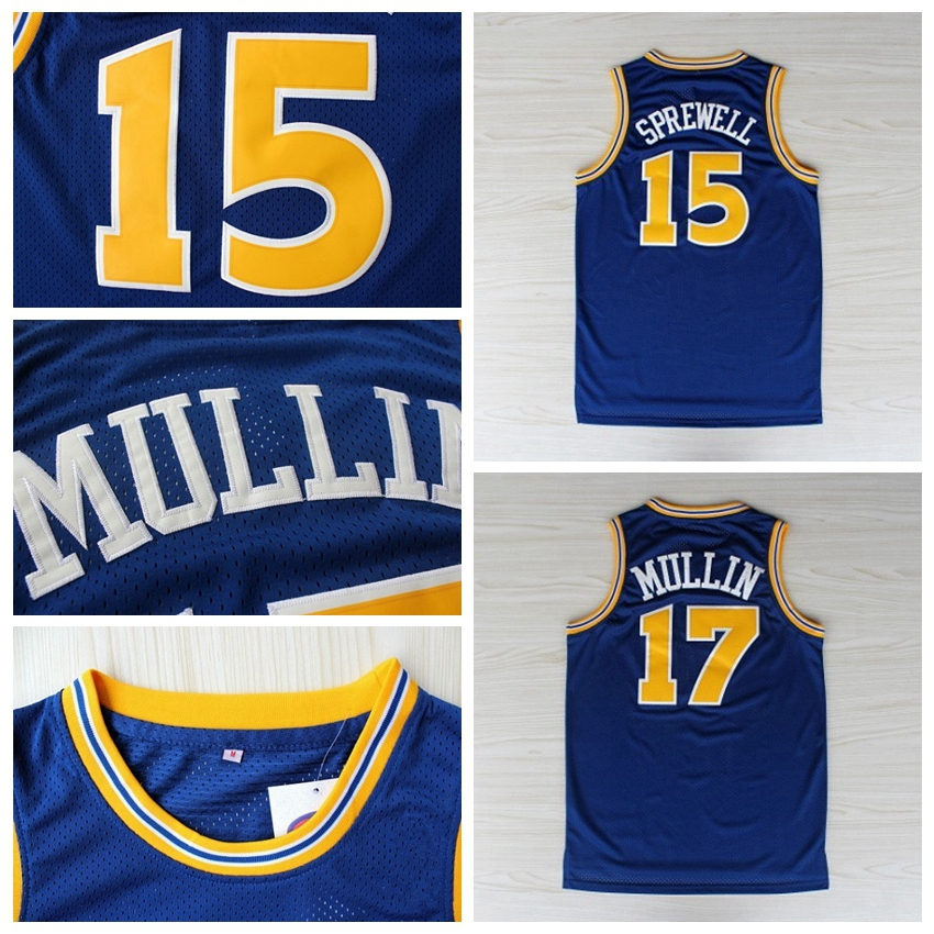 806a529e0ea ... italy golden state 15 latrell sprewell 17 chris mullin jersey blue  throwback basketball jerseys mesh rev