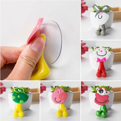 Cute Popular 1X3D Cartoon Animal Cute Sucker Toothbrush Wall Holder Suction Cup Bathroom Baby