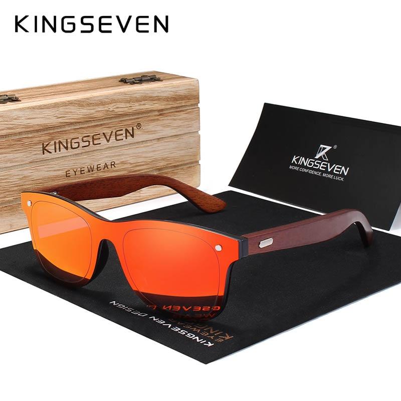 KINGSEVEN Holz Sonnenbrille Männer Frauen Platz Bambus Frauen Spiegel Sonnenbrille Oculos de sol Masculino Handmade Mit Holz Fall