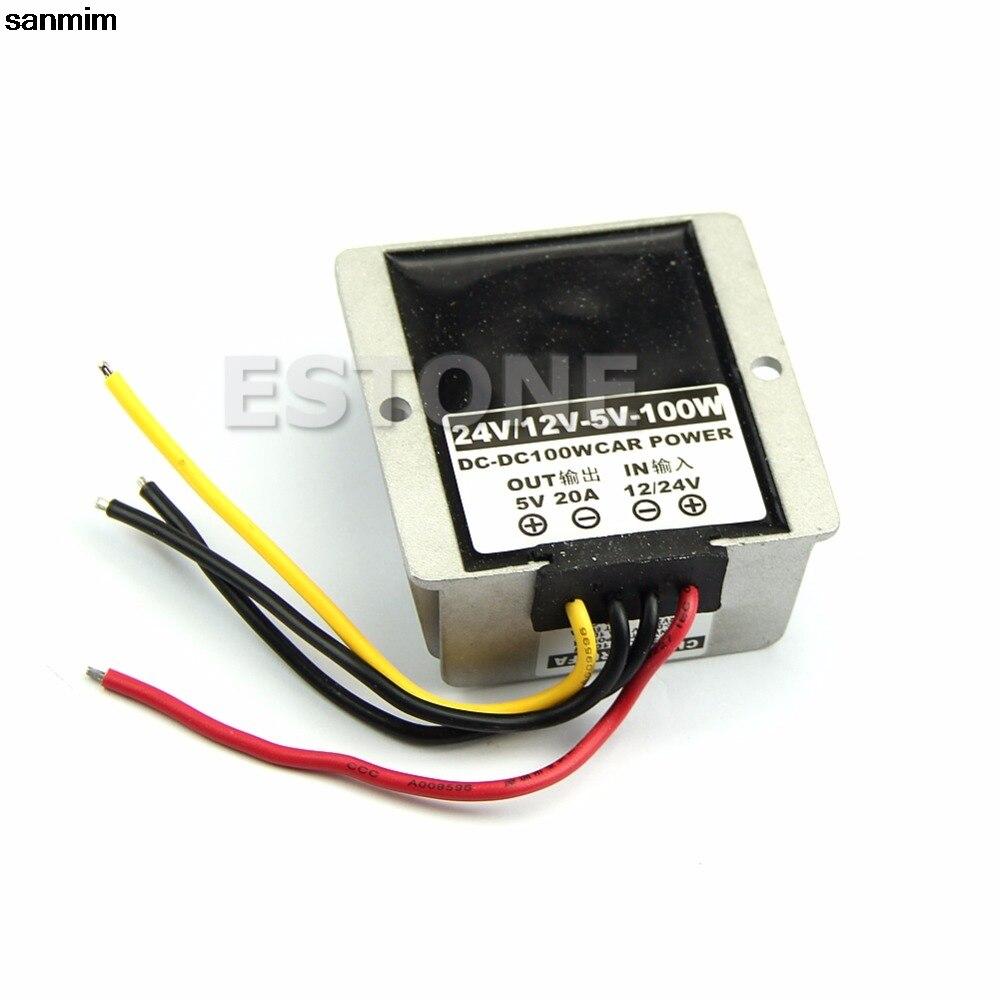 sanmim 100W Car Power Supply Module adapter DC-DC Converter 12V/24V Step Down to 5V-20A
