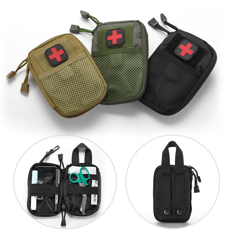 Outdoor Waterproof Travel First Aid Kits Oxford Cloth Tactical Small Pocket Camping Climbing Bag Black Emergency Case Wholesale