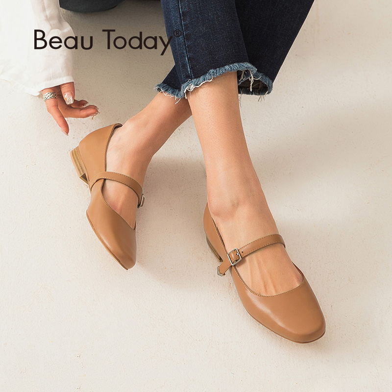 BeauToday Mary Janes Shoes Women Calfskin Genuine Leather Top Brand Buckle Strap Round Toe Spring Lady Flats Handmade 24053BeauToday Mary Janes Shoes Women Calfskin Genuine Leather Top Brand Buckle Strap Round Toe Spring Lady Flats Handmade 24053