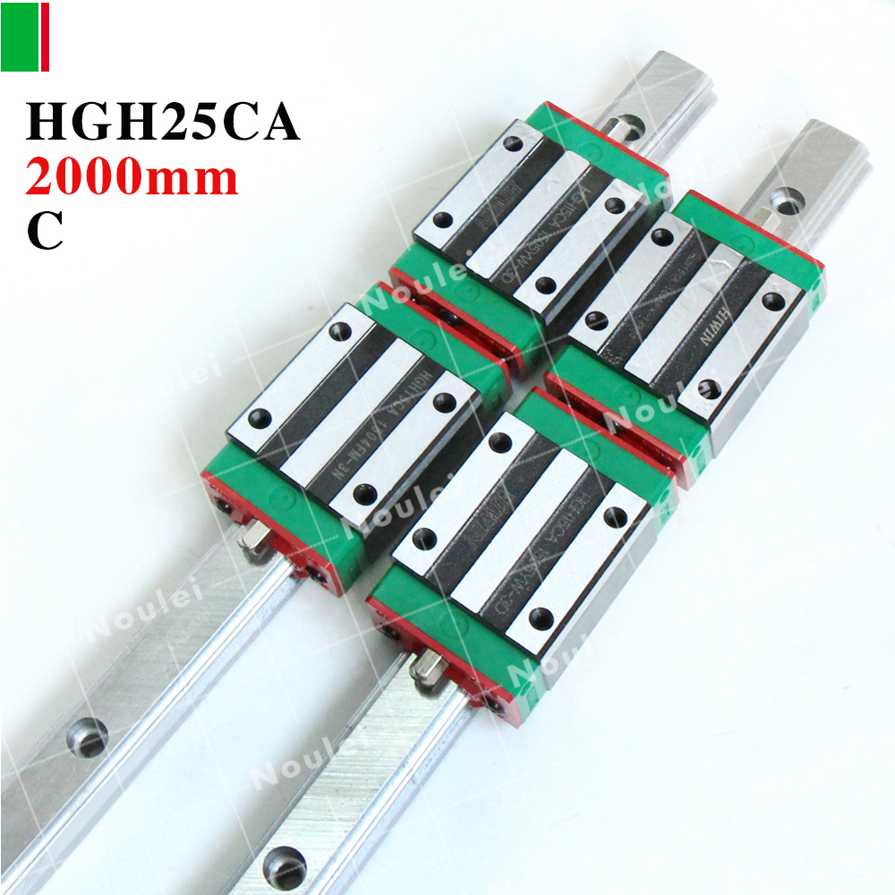 HIWIN Linear guide 2000mm,2pcs HGR25 linear guide rail+4pcs HGH25CA CNC Linear Guide Rail Block 2pcs hiwin hgh25ca linear guide slider block linear rails carrier