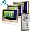 Wired Touch key 7'' Monitor Audio Video Door Phone 3 Units Apartment Intercom Entry System