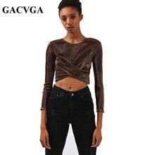 GACVGAส่องแสงลายข้ามผู้หญิงท็อปส์แขนยาวคอO-Tเสื้อสุภาพสตรีสำนักงานแฟชั่นพืชยอดนิยมยูนิคอร์นBlusa
