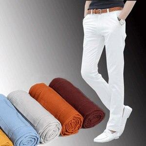 Image 4 - Männlichen Sommer Mode Kleid Hosen männer Koreanischen Stil Dünne Beiläufige Lange Länge Pantalon Homme Männer Slim Fit Anzug Hosen Weiß hosen