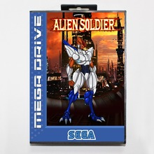 Alien Soldier 16 bit MD card with Retail box for Sega MegaDrive Video Game console system