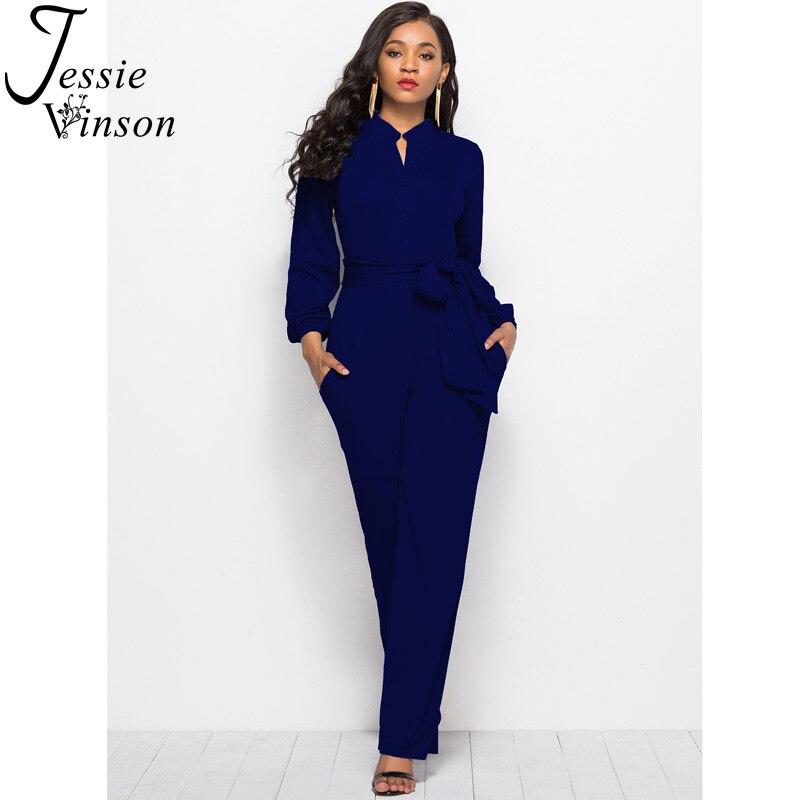 Jessie Vinson Turtleneck Long Sleeve Wide Leg Jumpsuit Buttons Black Rompers Womens Jumpsuits Plus Size Long Pants Overalls      3