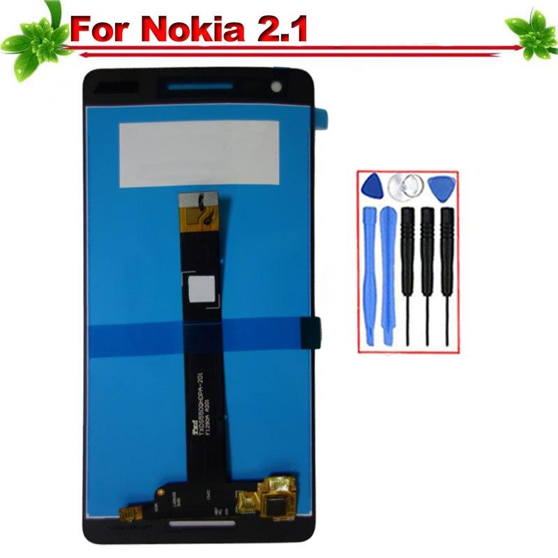 5,5 для Nokia 2,1 TA-1080 TA-1084 A-1086 TA-1092 TA-1093 ЖК-дисплей Дисплей Сенсорный экран полное собрание Замена для Nokia 2,1 ЖК-дисплей