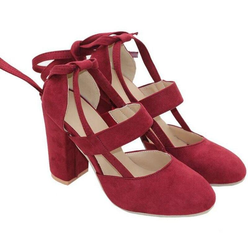 Pompes Courroie La Talon Hauts Épais Sandales Dentelle 2 Chaussures Dames Plus 1 3 43 Talons Printemps 5 De Up Automne Taille Cheville Femmes Eté 4 qrxvTPqW