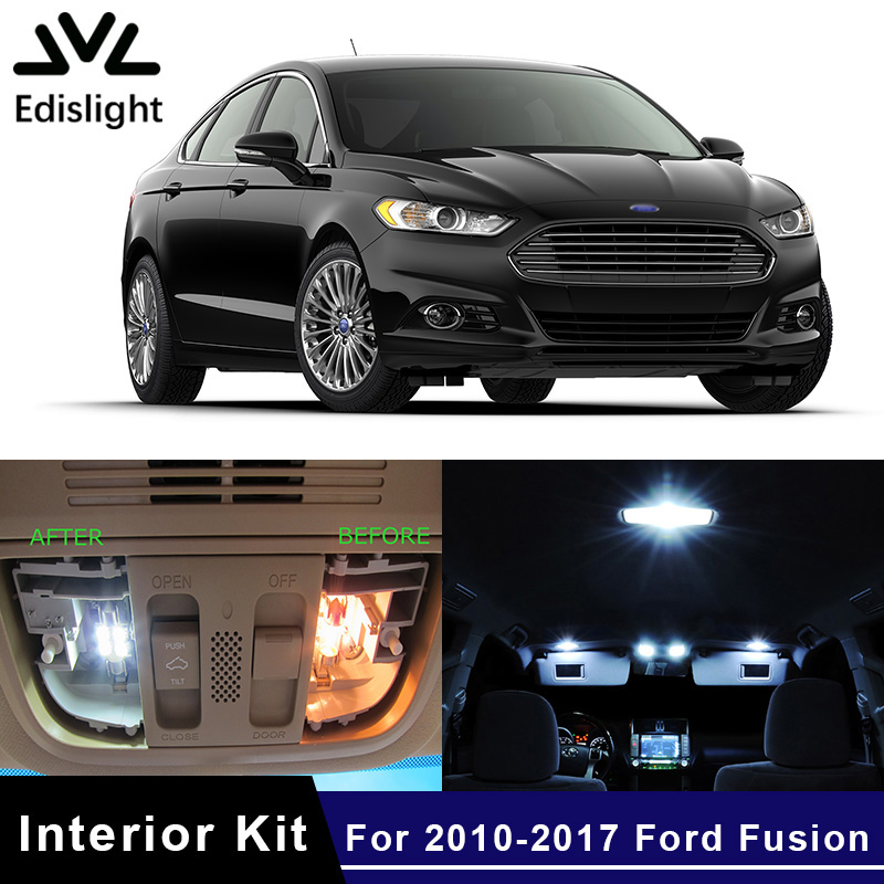 Edislight 12Pcs White Ice Blue Canbus LED Lamp Car Bulb Interior Package Kit For 2010-2017 Ford Fusion Map Dome Trunk Door Light