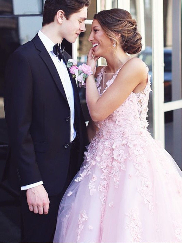 Romantic Pink   Prom     Dresses   2019 Ball Gown Open Back Appliques Lace Flowers Tulle Princess Long   Prom   Gowns Evening Party   Dresses