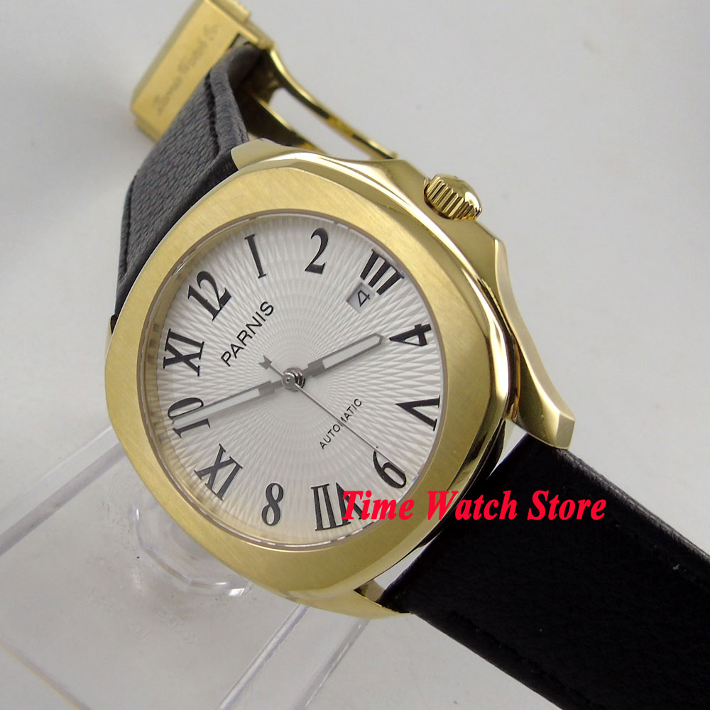 Parnis Men's watch 40mm gold square case white dial luminous leather strap 21 jewels MIYOTA Automatic movement 892 40mm parnis white dial vintage automatic movement mens watch p25