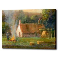 Selling art canvas painting hang on the office room village natural scenery handmade oil painting unique gift