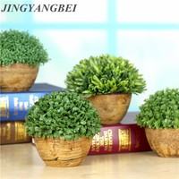 Spring Green Plants Resin Potted Bonsai Artificial Plant Leaf With Vase Set Fake Plante Flower Desktop