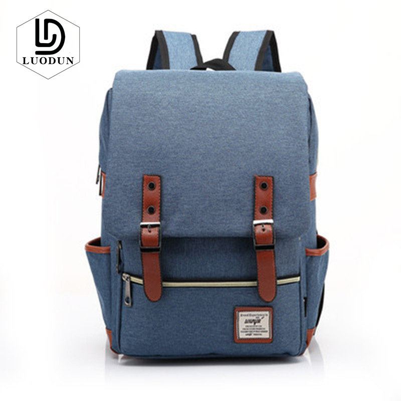 Luodun Vintage Men Women Canvas Backpacks School Bags For Teenagers Boys Girls Large Capacity Laptop Backpack Fashion Casual Bag