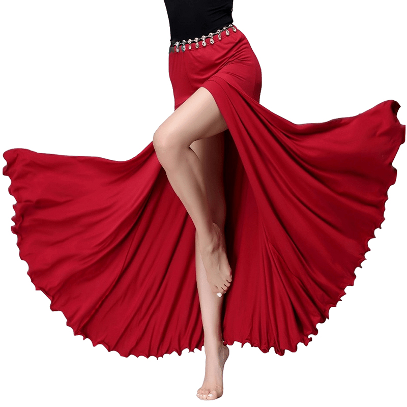 Modal Clothes Women Dance Wear Long Maxi Skirts Belly Dance Skirt Side Slit