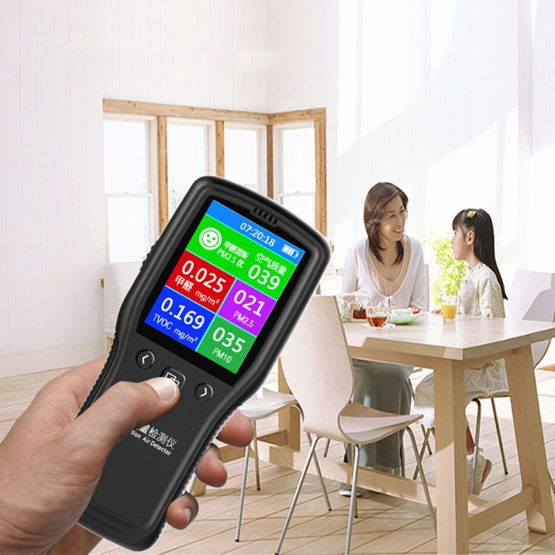 PM2.5 Detector Air Quality Monitor Digital Testing Appliance For Supervising Formaldehyde TVOC PM2.5 PM10 HCHO