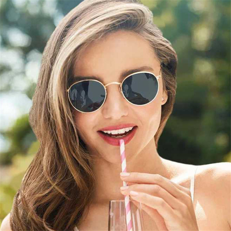 Round Sunglasses Women Female Coating Reflective Mirror Glasses UV400 Vintage Brand Designer Trend Circular Frame Sun Eyeglasses