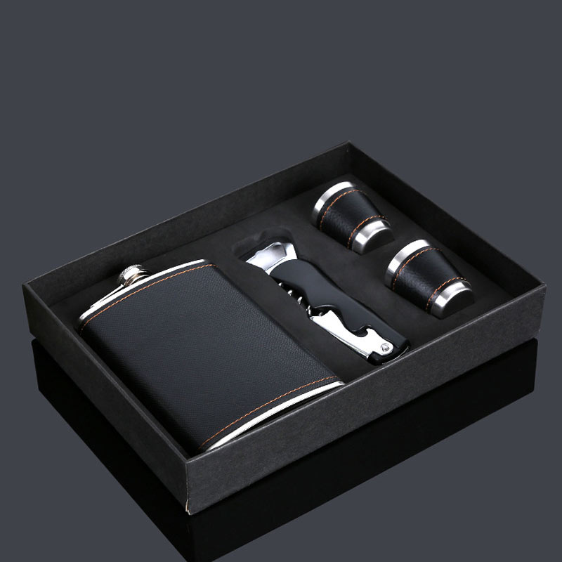 Leather Flask Stainless Steel Kit
