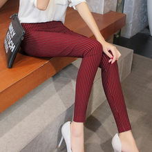 Aselnn 2018 Spring&summer New Fashion Women Vertical Striped Pants Female Pencil Ankle-length Pants White Black Pants