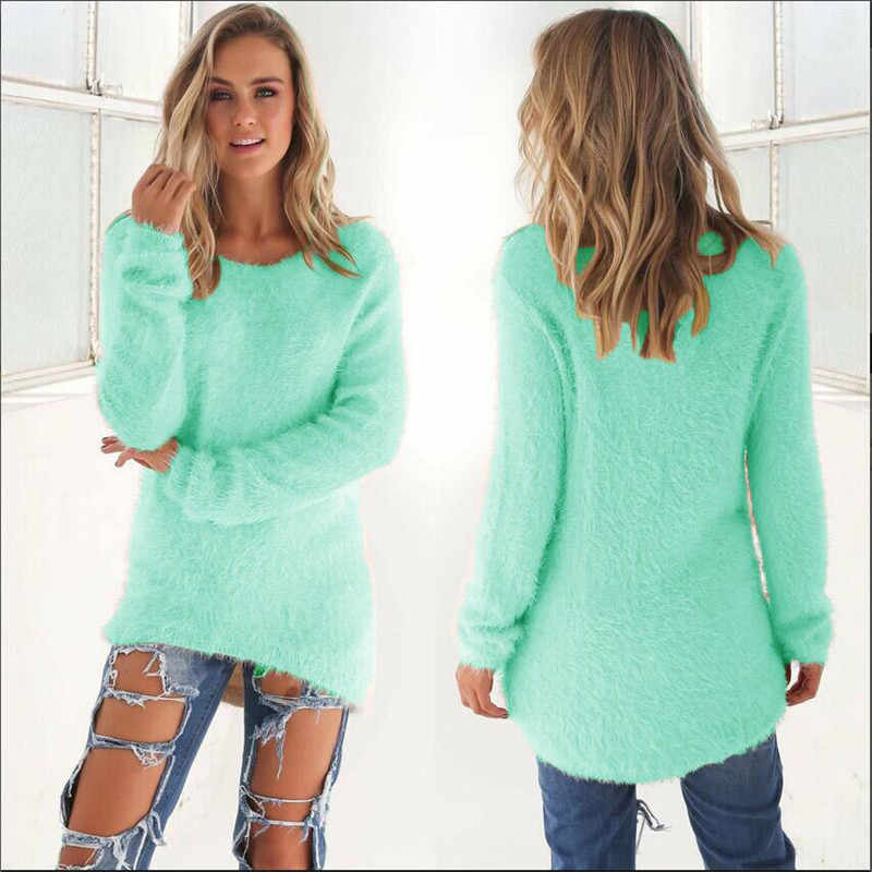 2019 Autumn Winter Casual Knitted Ladies Sweater Long Sleeve O-neck Women Tops Plush Sweaters Plue Size 3XL Pullovers Sweater