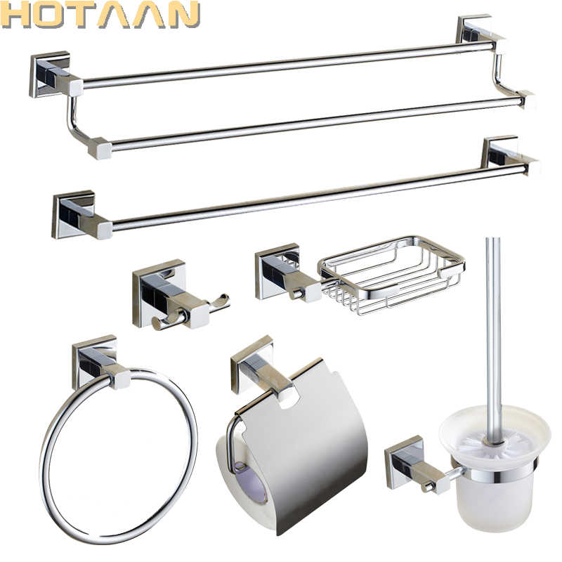 Chrome Plated Brass Made Wall Mount Bath Hardware Sets Towel Bar Robe Hook Paper Holder Square Bathroom Accessories Set Bathroom Hardware Set Bathroom Hardwarebathroom Accessories Set Aliexpress