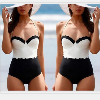 European and American swimsuit sexy lace Agent Provocateur black and white small chest gather cover belly was thin ste image