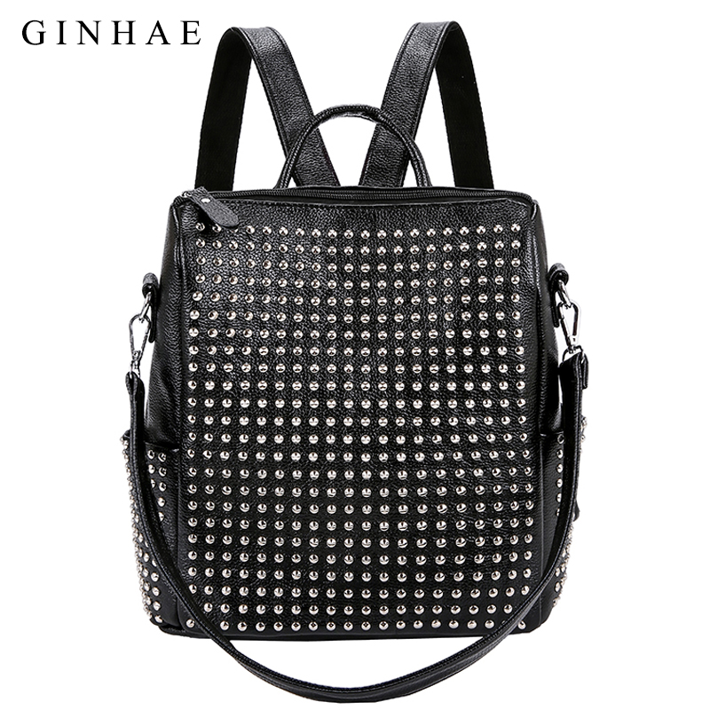 GINHAE Fashion Rivet Design Women Bag Small Backpacks Ladies Soft PU Leather Backpack Teenage Girls Casual Shoulder School Bags jxsltc womens pu leather rivet backpack female backpack for adolescent girl casual small backpacks women pouch fashion lady bag